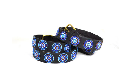 Blue Brown Circles Belt - Two Hearts Equine Boutique