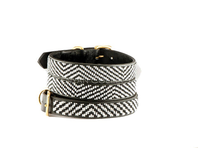 Zebra Beaded Dog Collar - Two Hearts Equine Boutique