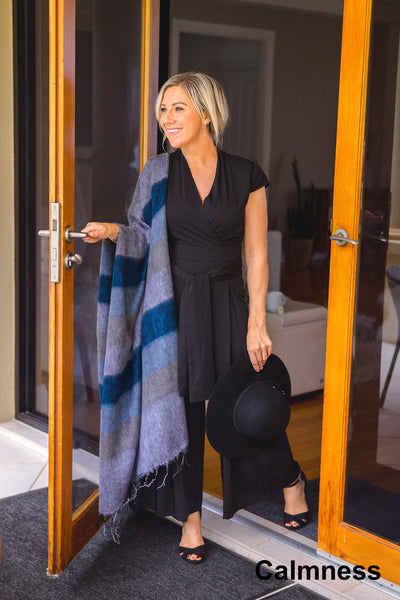 Ethically and sustainably handmade in Nepal, beautiful, soft shawl to you warm. Can be paired with elegant or formal dress, work outfit or fashionable casual attire. Take it with you on holiday, business trip, camping or use it after yoga exercise. Janicka (Janicka.com.au). Calmness
