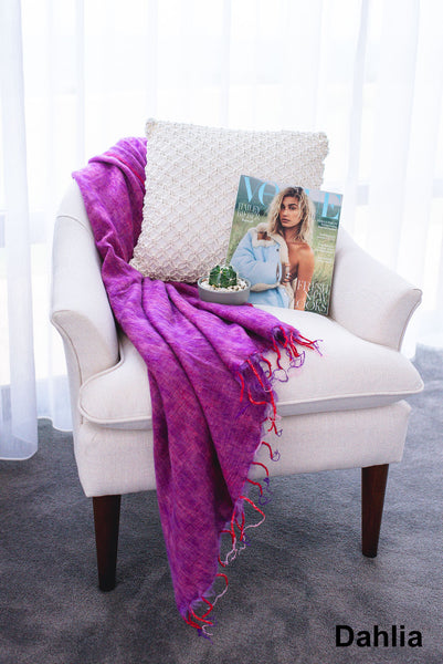 Ethically and sustainably handmade in Nepal, beautiful soft blanket to keep you warm and cozy. Use it as a colourful throw on a bed or snuggle into it while relaxing. It is big enough to take it to the footy. Janicka (Janicka.com.au). Dahlia