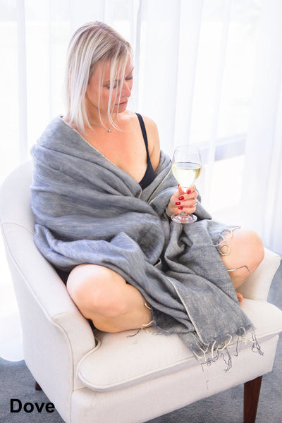 Ethically and sustainably handmade in Nepal, beautiful soft blanket to keep you warm and cozy. Use it as a colourful throw on a bed or snuggle into it while relaxing. It is big enough to take it to the footy. Janicka (Janicka.com.au). Dove