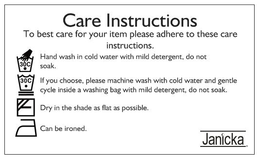 Janicka Triangle scarf care instruction card