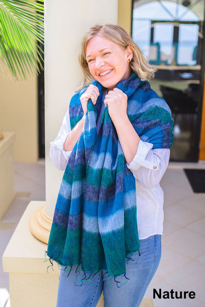 Ethically and sustainably handmade in Nepal, beautiful, soft shawl to you warm. Can be paired with elegant or formal dress, work outfit or fashionable casual attire. Take it with you on holiday, business trip, camping or use it after yoga exercise. Janicka (Janicka.com.au). Nature