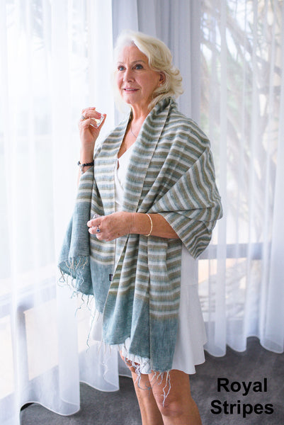 Ethically and sustainably handmade in Nepal, beautiful, soft shawl to you warm. Can be paired with elegant or formal dress, work outfit or fashionable casual attire. Take it with you on holiday, business trip, camping or use it after yoga exercise. Janicka (Janicka.com.au). Royal Stripes