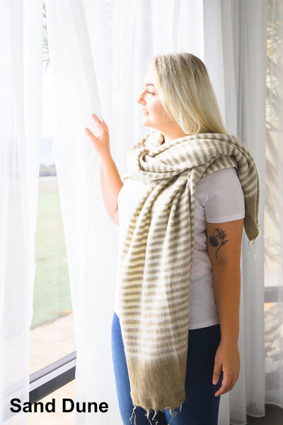 Ethically and sustainably handmade in Nepal, beautiful, soft shawl to you warm. Can be paired with elegant or formal dress, work outfit or fashionable casual attire. Take it with you on holiday, business trip, camping or use it after yoga exercise. Janicka (Janicka.com.au). Sand Dune
