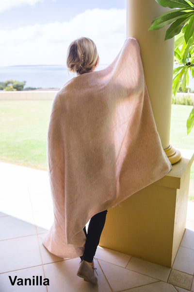 Ethically and sustainably handmade in Nepal, beautiful soft blanket to keep you warm and cozy. Use it as a colourful throw on a bed or snuggle into it while relaxing. It is big enough to take it to the footy. Janicka (Janicka.com.au). Vanilla
