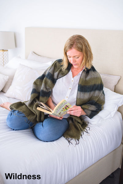 Ethically and sustainably handmade in Nepal, beautiful, soft shawl to you warm. Can be paired with elegant or formal dress, work outfit or fashionable casual attire. Take it with you on holiday, business trip, camping or use it after yoga exercise. Janicka (Janicka.com.au). Wildness