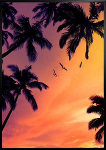 Palm trees sunset poster print