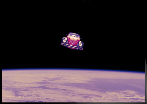 Space travel, car in space poster