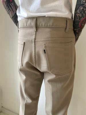 1970's Levi's Tan Polyester Flared Trousers (33 x 30)
