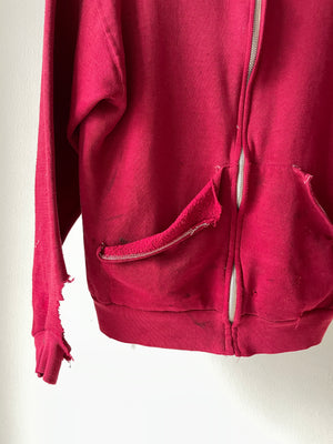 1970's Russell Athletic Distressed Zip Up Hoodie (S/M)