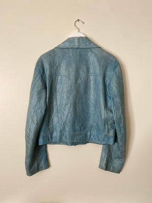 1980's Baby Blue Leather Jacket (M/L)