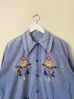 1950's/60's Homemade Embroidered Shirt (L)