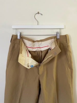 1960's Tan Pleated Trousers (33 x 30)