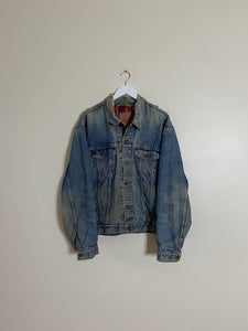 1990's Levi's Plaid Lined Denim Jacket (XL/XXL)