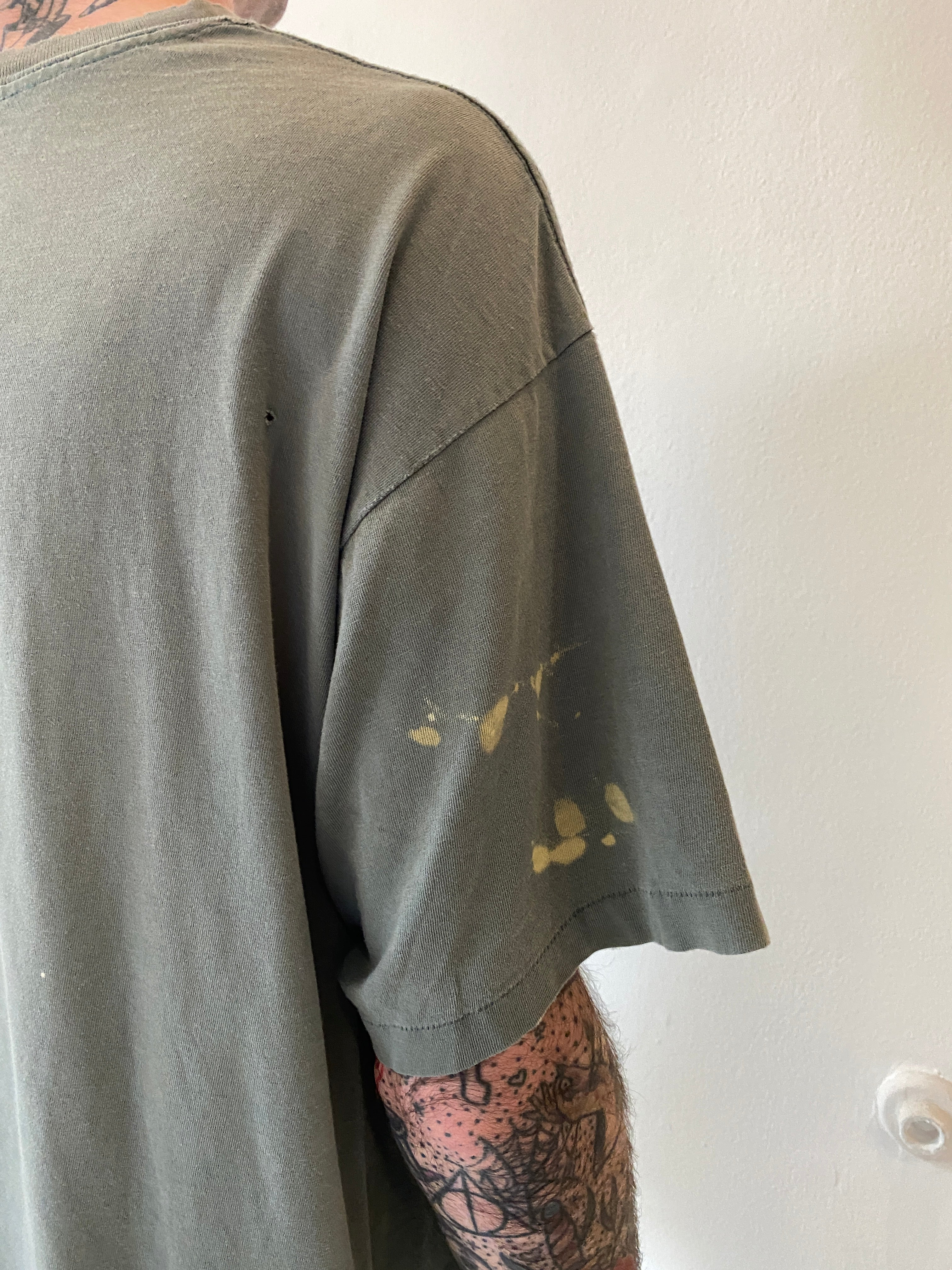 1990's Olive Grey Painter Blank Shirt (L/XL)