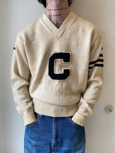 1960's Cream Collegiate Sweater (M)