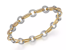 Load image into Gallery viewer, 14kt yellow and white gold circle link bracelet