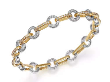 14kt yellow and white gold circle link bracelet