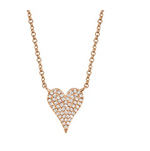 Load image into Gallery viewer, 14kt Small Heart Diamond Necklace