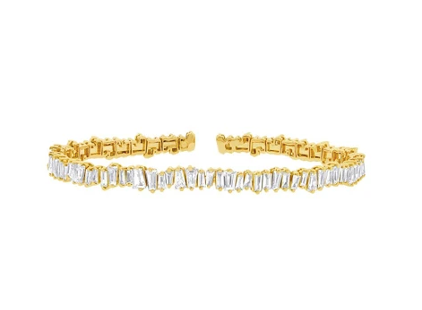 14kt Baguette Diamond Bangle
