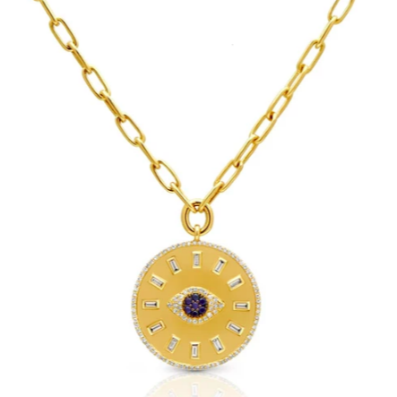14kt gold evil eye medallion charm pendant