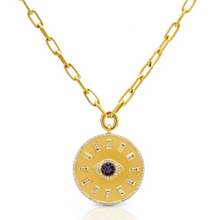 Load image into Gallery viewer, 14kt gold evil eye medallion charm pendant