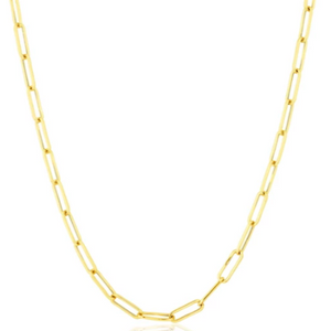14kt solid gold paper clip chain necklace