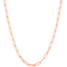 Load image into Gallery viewer, 14kt solid gold paper clip chain necklace