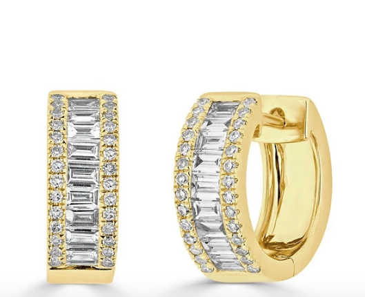 14kt diamond baguette huggies earrings