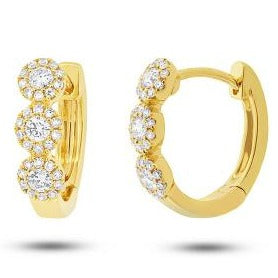 14kt Triple Halo Diamond Huggie Earrings