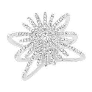 14kt Diamond Starburst Ring