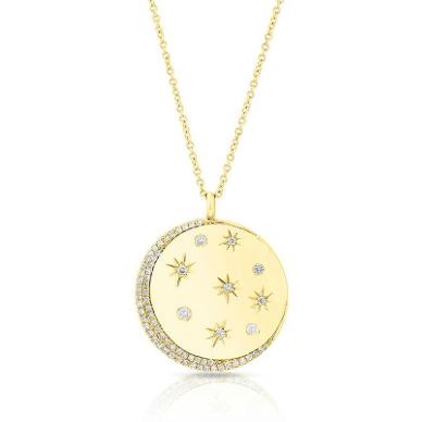 14kt Diamond Moon and Stars Pendant