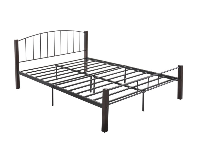 Grace Collection QUEEN  bed frame w/ solid wood post in Black + Wenge