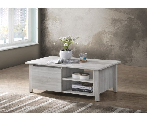 Coffee Table With Open Drawer Shelves In White Oak