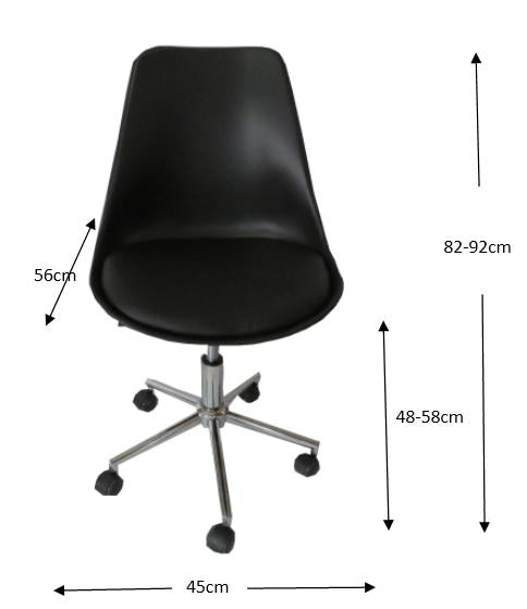 Black padded seat gas lift office chair