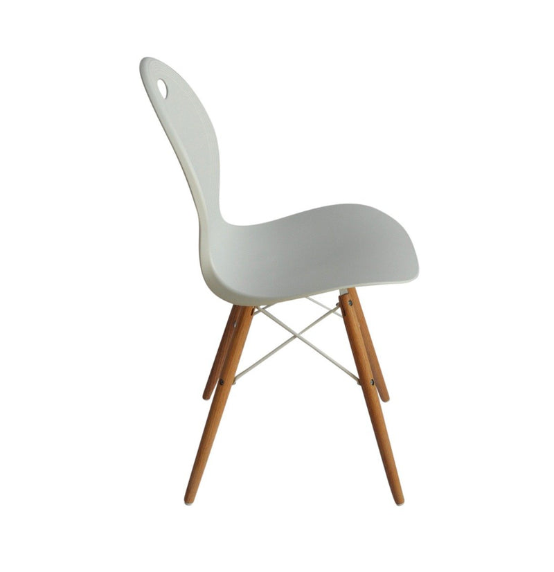 Set of 2 dining chair white with solid natural oak legs