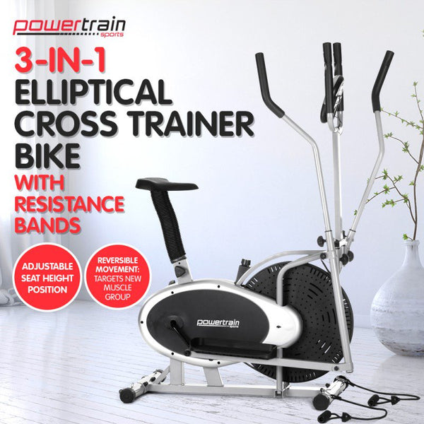 3-in-1 Elliptical cross trainer bike with Resistance Bands