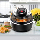 10L Multi Cooker 6 Functions Air Fryer Convection Oven Turbo Cooker BBQ Rotisserie 1300W Black