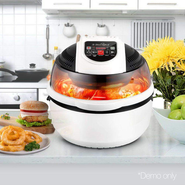 10L Multi Cooker 6 Functions Air Fryer Convection Oven Turbo Cooker BBQ Rotisserie 1300W White