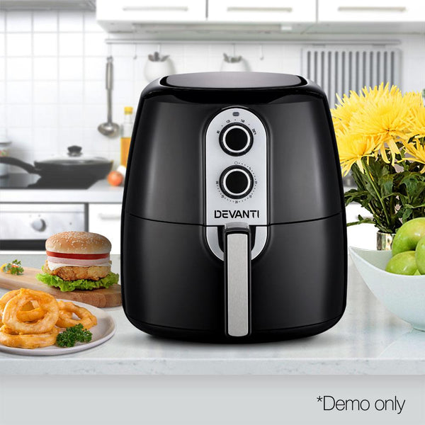 7L Air Fryer Low Fat Oil Less Cooking Health Multi Cooker W/ Divider Black