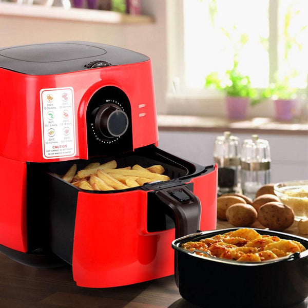 3L Air Fryer Low Fat Oil Less Cooking Health Multi Cooker W/ Recipe Red