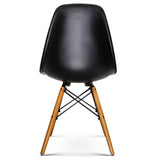 4 X Retro Chairs Home Office W/ Beech Wood Legs Black