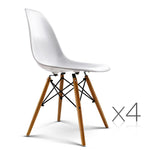 Set of 4 Retro Beech Wood Dining Chair - White