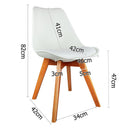 2 X Dining Chairs For Home Cafe Kitchen In Beech White