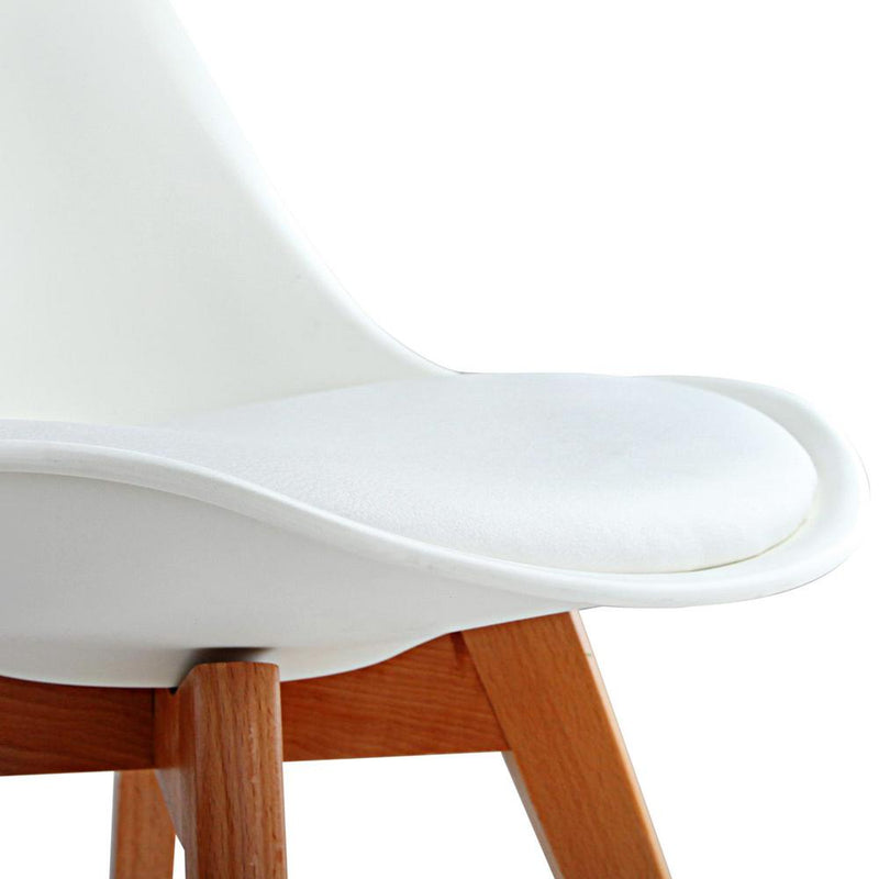 4 X Dining Chairs For Home Cafe Kitchen In Beech White