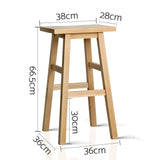 2 X Bar Stool Wooden Dining Chairs Kitchen Bistro Natural 66.5cm