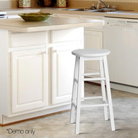 2 X Bar Stool Wooden Dining Chairs Kitchen Bistro White 61cm