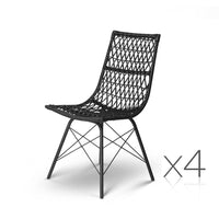 Set of 4 PE Wicker Dining Chair - Black