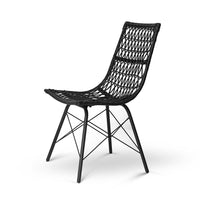 4x Outdoor Dining Chairs Rattan PE Wicker For Garden Patio Café In Black